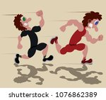 two sprinters running in a 100... | Shutterstock .eps vector #1076862389