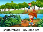 boy and girl gardening in... | Shutterstock .eps vector #1076865425