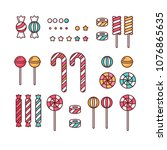 candy set linear lollipops with ... | Shutterstock .eps vector #1076865635