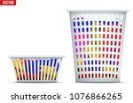 set of laundry laundry basket... | Shutterstock .eps vector #1076866265