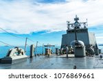 navy ship sails in the sea show ... | Shutterstock . vector #1076869661