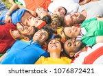 happy friend group lying on...   Shutterstock . vector #1076872421