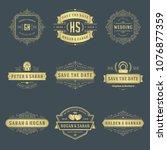 wedding logos and badges vector ... | Shutterstock .eps vector #1076877359