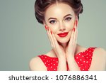 pin up girl vintage. wow... | Shutterstock . vector #1076886341