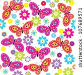 Stock vector seamless pattern with butterfly flower 107689571