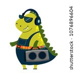 funny cartoon  cute dinosaur.... | Shutterstock .eps vector #1076896604