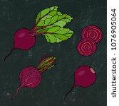 black chalk board. set of beet  ... | Shutterstock .eps vector #1076905064