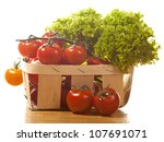 tomatoes and salad in  wooden... | Shutterstock . vector #107691071