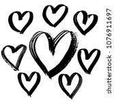 grunge brush hearts collection. ... | Shutterstock .eps vector #1076911697