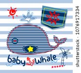 cute cartoon whale with pocket... | Shutterstock .eps vector #1076917334