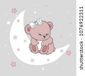 cute teddy bear girl on the... | Shutterstock .eps vector #1076922311