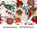seamless pattern with folk... | Shutterstock .eps vector #1076923421