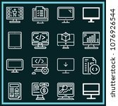 set of 16 monitor outline icons ... | Shutterstock .eps vector #1076926544