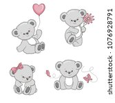 Stock vector set of cute cartoon teddy bears isolated on white background vector illustration 1076928791