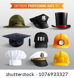 different professions hats... | Shutterstock .eps vector #1076933327