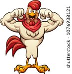 strong cartoon rooster flexing... | Shutterstock .eps vector #1076938121