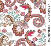 seamless pattern with paisley ... | Shutterstock .eps vector #1076939117