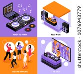 dj music 4 isometric icons... | Shutterstock .eps vector #1076943779