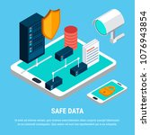 safe data design concept with ... | Shutterstock .eps vector #1076943854