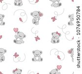 seamless pattern with cute... | Shutterstock .eps vector #1076950784