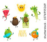 fruit characters at summer... | Shutterstock .eps vector #1076955269