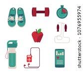 various sport equipment set... | Shutterstock .eps vector #1076955974