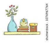 interior shelf with books vase... | Shutterstock .eps vector #1076967764