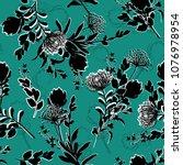 black  silhouette floral...   Shutterstock .eps vector #1076978954