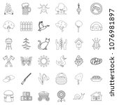 region icons set. outline style ... | Shutterstock . vector #1076981897