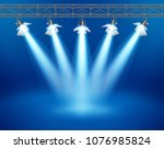 concert stage with floodlight ... | Shutterstock .eps vector #1076985824