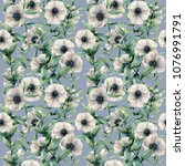 watercolor anemone and leaves... | Shutterstock . vector #1076991791