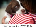 Stock photo close up portrait of girl hugging dog 107699234