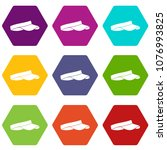 golf visor icon set many color... | Shutterstock . vector #1076993825