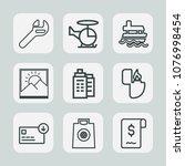 premium set of outline icons.... | Shutterstock .eps vector #1076998454