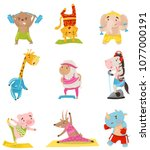 flat vector set of cute... | Shutterstock .eps vector #1077000191