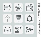 premium set of outline icons.... | Shutterstock .eps vector #1077001481