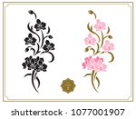 floral design elements  stencil.... | Shutterstock .eps vector #1077001907
