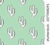 inversion cactus seamless... | Shutterstock .eps vector #1077008291