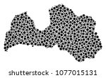 latvia map mosaic of round dots ... | Shutterstock .eps vector #1077015131