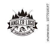 angler   fishing emblem logo... | Shutterstock .eps vector #1077018197