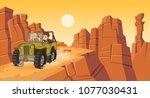 cartoon children driving a car... | Shutterstock .eps vector #1077030431