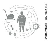 fat man and different sports... | Shutterstock .eps vector #1077035411