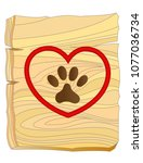 animal paw in a red heart on a... | Shutterstock .eps vector #1077036734
