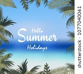 summer holiday background with... | Shutterstock .eps vector #1077040061
