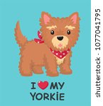 icon of a yorkshire terrier dog.... | Shutterstock .eps vector #1077041795