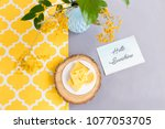 lemon pie on wooden plate with... | Shutterstock . vector #1077053705