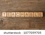teachable word written on... | Shutterstock . vector #1077059705