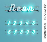 realistic neon font with wires... | Shutterstock .eps vector #1077061154