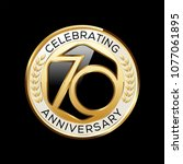 70 years anniversary emblem.... | Shutterstock .eps vector #1077061895