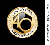 40 years anniversary emblem.... | Shutterstock .eps vector #1077061901